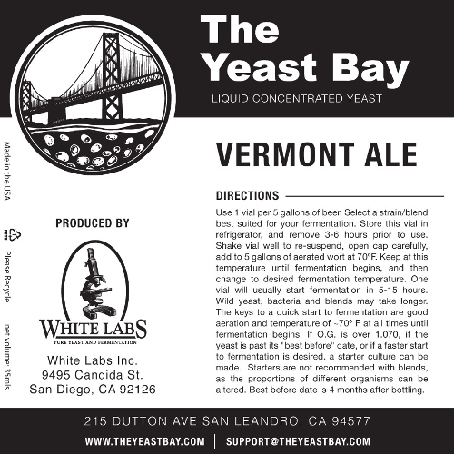 7257 the yeast bay vermont ale